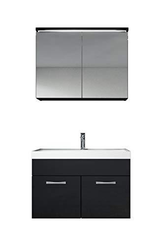 Badkamermeubelset Paso 02 80cm wastafel hoogglans zwart - badkamermeubel meubel spiegelkast