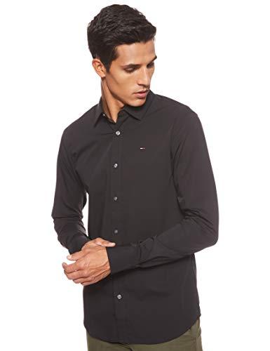 Tommy Jeans Origineel stretch vrijetijdsoverhemd met lange mouwen voor heren, zwart (tommy black 078), XXL