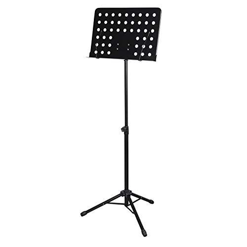CASCHA Orkeststandaard van metaal - stabiele muziekstandaard met instelbare hellingshoek en afneembare muziekklemmen - praktisch inklapbaar en eenvoudig in hoogte verstelbaar - muziekhouder zwart