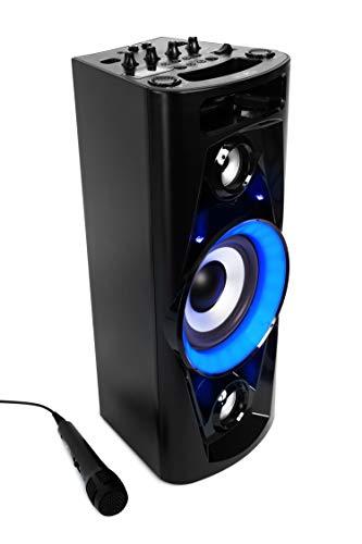 Reflexion PS07BT, Mobile Disco-Soundmachine (Incl. Bluetooth, Radio, 2 x USB, Aux-In, Karaokefunctie En Accu), Zwart, 20.2 x 49 x 20.1 cm
