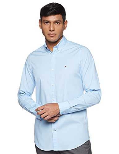 Tommy Hilfiger Heren Core Stretch Slim Poplin Shirt Vrijetijdshemd, blauw (shirt Blue 474), M