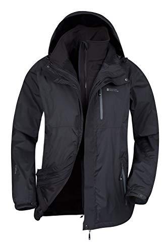 Mountain Warehouse Bracken Extreme 3-in-1 waterdichte jas voor heren, verstelbare herenjas, warme regenjas, hoofdtelefoon, compatibel bovenkleding, geschikt voor winterkamperen, wandelen, Zwart, M