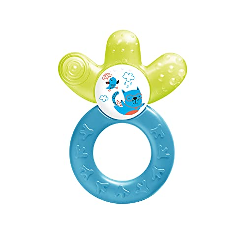 MAM Cooler New, bijtring voor baby's bevordert motoriek en visuele ontwikkeling, verkoelend bijtspeelgoed bereikt ook kiezen, koelbijtring vanaf 4+ maanden, geel/blauw