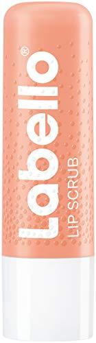 Labello Lip Scrub aardbei + perzik (5,5 ml), innovatieve lippenverzorging met scrubdeeltjes van natuurlijke oorsprong, zachte lippenpeeling met vitamine E