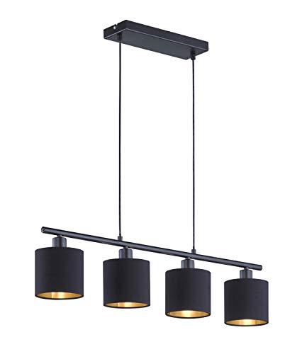 Reality R30334079 Lampen Tommy Hanglamp, Metaal, Mat Zwart-Goudkleurig
