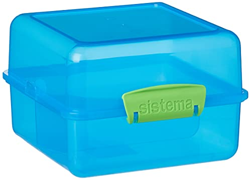Sistema Lunch Cube, 1,4 L Contrasterende clips, blauw/groen, 14,5 x 15 x 9,5 cm