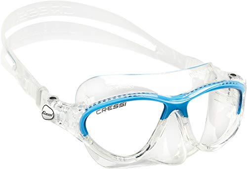 Cressi Moon Kid Mask - Uniseks duikmasker voor kinderen, Transparant/Blauw