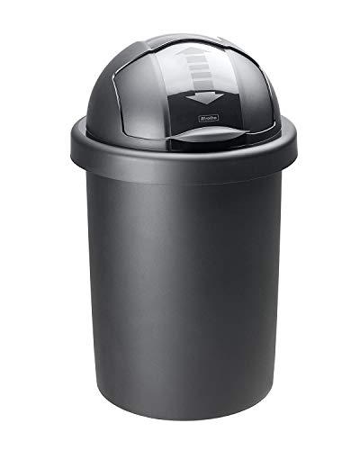 Rotho, Roll Bob, ronde afvalbak 30l met deksel, Kunststof (PP) BPA-vrij, zwart, 30l (35,5 x 35,5 x 59,5 cm)
