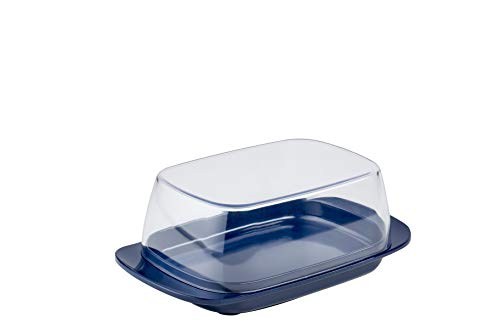 Mepal Botervloot Blue – voor 250 g boter – transparant deksel – past precies in de koelkastdeur – vaatwasmachinebestendig, melamine/SAN, oceaan blauw, 17 x 9,8 x 6 cm