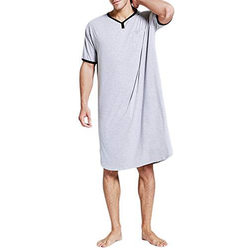 Mannen Slaap Shirt, Mens Slaapshirt Comfortabel Grote & Zachte Korte Mouw Nachtshirt V-hals Nachtkleding Lange Nachtjapon Pyjama, Grijs, XL