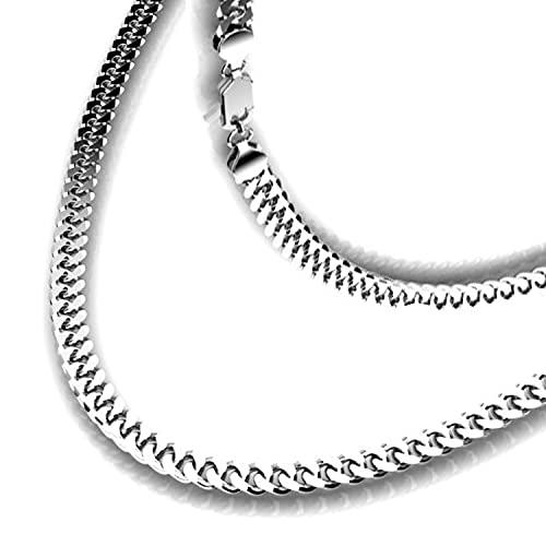 Subalian mannen zilveren ketting - Italiaans sterling zilver 925 met sieraden geschenkdoos (60 cm) / Mens dikke schakelketting 6mm / lange Cubaanse stijl Curb ketting voor mannen, vriend verjaardag en kerstcadeaus