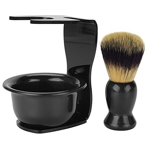 CINEEN 3-in-1 scheerkwastkit Haarscheerkwast + Acryl scheermesstandaard + Scheerzeepkom Scheerreinigingsgereedschap