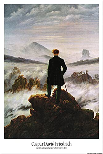 1art1 50704 Caspar David Friedrich - De wandeler in de mistzee poster kunstdruk, 91 x 61 cm