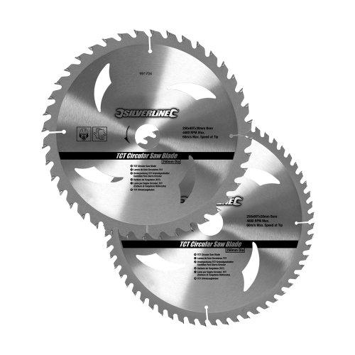 Silverline 991704 hardmetalen cirkelzaagbladen met 40 en 60 tanden, 2er Pckg 250 x 30, verloopstukken: 25, 20 en 16 mm