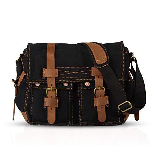 FANDARE Nieuwe Retro Messenger Bag Schoudertas 14 inch Laptop Rugzakken Mannen Vrouwen Tas Messenger Bag Multifunctioneel Canvas, zwart (zwart) - BK-IB002