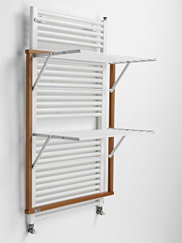 Arredamenti Italia wasdroogrek voor radiatoren KLAUS, hout - inklapbaar - 10 mt linnen - kleur: kersenhout