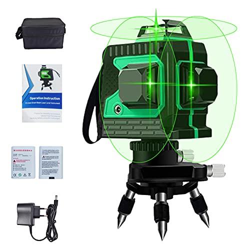 Kruislijnlaser Groen 3D 12 Laserlijn 3x360 Graden Horizontaal en Verticaal Kruis Supersterke Groene Laserstraallijn Zelfnivellerende Laserniveau, 25m Werkbereik, Magnetisch Draaibaar