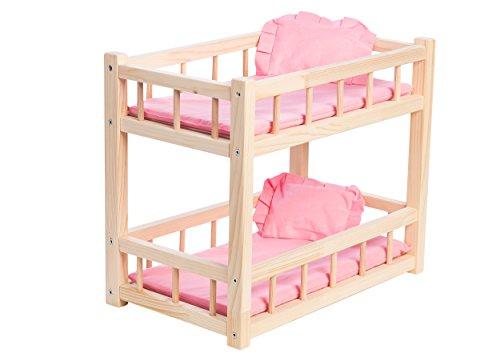 Houten Stapelbed voor Babypoppen tot 36 cm met Roze Linnen Beddengoed