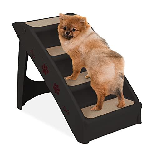 Relaxdays Hondentrap met 4 niveaus, kleine en grote honden, bed & bank, auto, dierentrap tot 100 kg, 49 x 39 x 61 cm, zwart
