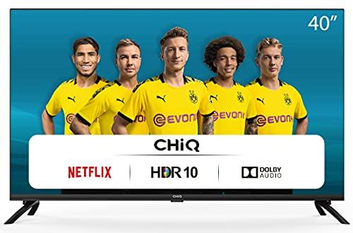CHiQ L40H7N, 40 inch, Full HD-tv, Smart TV, 1080p, WiFi, Bluetooth, Prime Video, YouTube, Netflix, 3 HDMI, 2 USB, drievoudige tuner
