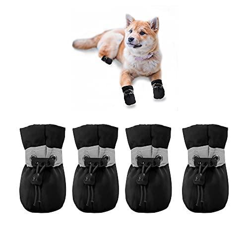 YAODHAOD Hondenlaarzen Paw Protector, anti-slip hondenschoenen, deze comfortabele zachte hondenschoenen zijn met reflecterende bandjes, voor kleine hond (4, zwart)