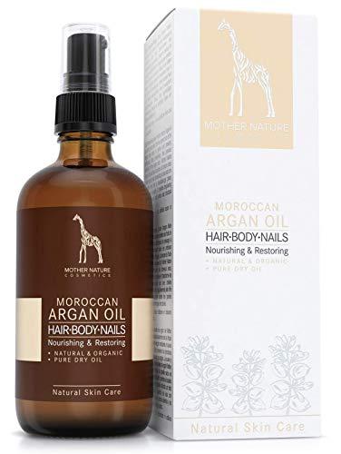 Biologische arganolie - natuurlijke cosmetica vegan - 100 ml van Mother Nature Cosmetics - hoogwaardig en voorzichtig koudgeperst, van met de hand geselecteerde argannoten - traditioneel natuurproduct voor haar, huid, nagels