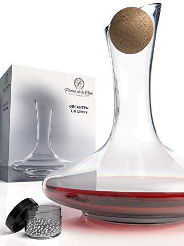 Decanter & accessoires (kurksluiting + reinigingskralen van roestvrij staal) - 100% loodvrije wijnkaraf van kristalglas - wijnbeluchter decanteerder voor rode wijn - uniek cadeau-idee