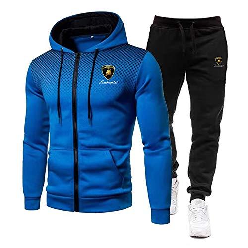 Woakzhe Trainingspak voor heren, sportkleding voor mannen, Lamb.o-r.ghini bedrukt joggingpak, klassieke basketbal met capuchon en broek (blauw, XXXL)
