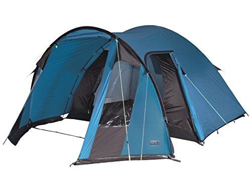 High Peak Koepeltent Tessin 4, campingtent met voorbouw, 2 ingangen, familietent voor 4 personen, extra hoge ingang, dubbelwandig, 2.000 mm waterdicht, ventilatiesysteem, muggenbescherming