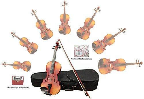 Sinfonie24 Viool set maat 4/4, Hamburger vioolbouw Manufaktur, levendig, warm, rond geluid, (Plus II) koffer, boog, colofonium, barnsteen, met merksnaren, akoestisch