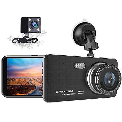 Apexcam Autocamera 4,0 inch IPS Full HD 1080P voor en achter dashcam 170° groothoek WDR nachtzicht G-sensor loopopname parkeerbewaking bewegingsdetectie