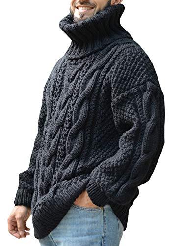 Fueri Herentrui, rolkraag, gebreide trui, wintertrui, regular fit, casual, met vlechtpatroon, herfst, warm, casual, effen, grof gebreid, trui, bovenstuk