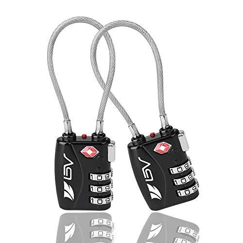 BV TSA-bagageslot, 2-per, cijferslot, kabelslot, reisslot, kofferslot met 3-cijferige cijfercode, TSA-gecertificeerd, Set-Your-Own Combination Travel Lock Pair