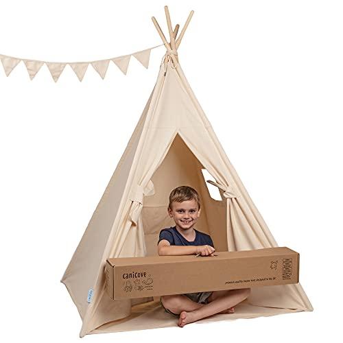Canicove Tipi tent voor kinderen, opvouwbare indoor & outdoor set, katoen, natuurlijke kleuren met massief houten palen & Jux vlaggen voor 2 jongens en meisjes (natuurlijke kleuren) zeildoek Wigwam