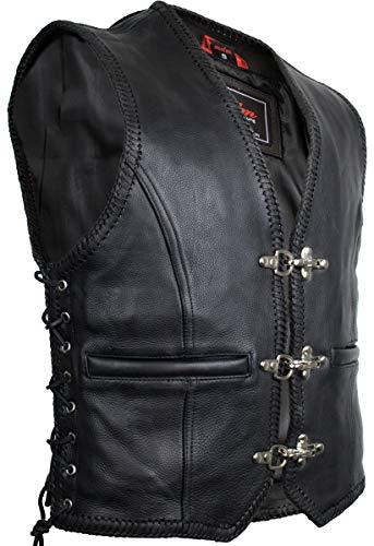 Heren Leren Biker Vest, Zwart