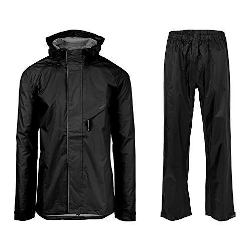 AGU Essential Passat Regenpak, Regenkleding voor op de Fiets Heren & Dames, Waterdicht & Winddicht, Reflecterend, 100% Gerecycled Polyester, Unisex - Zwart - L