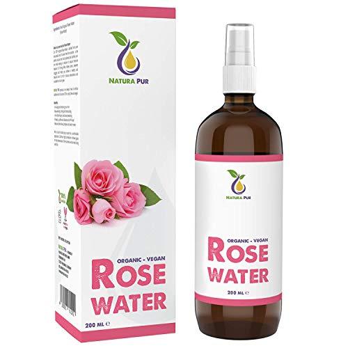 Rozenwater Spray Puur 200 ml - 100% biologisch en veganistisch - Natuurlijk rozenhydrolaat - tonic voor het gezicht - ideaal voor de onzuivere huid - werkt tegen puistjes en acne én voor het verwijderen van make-up