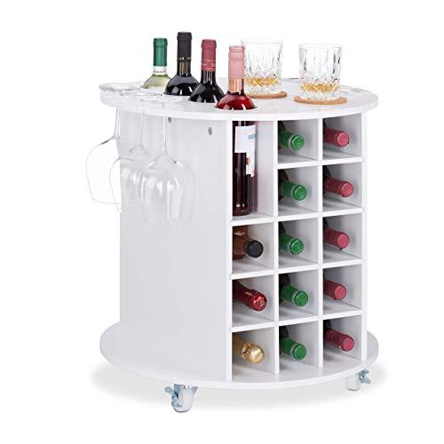 Relaxdays, Wit wijnrek op 360° draaibare wielen, 6 glazen houders, wijnopslag voor 17 flessen, rond, H x D: 56 x 54 cm