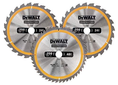 Dewalt Cirkelzaagbladenset 3 stuks, DT1963 (2x 250x30x3.0 mm, 24, WZ, 10° en 1x 250x30x3.0 mm, 48 WZ, 10°, nagelbestendig, voor gebruik op stationaire zagen)