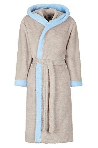 Di Ficchiano Unisex heren dames badjas met capuchon I ochtendjas pluizig I nachtkleding van luxe microvezel I kimono met keuze uit kleuren en maten XXS - 5XL I Bath-Robe Öko-Tex Standard 100, duifblauw., XS