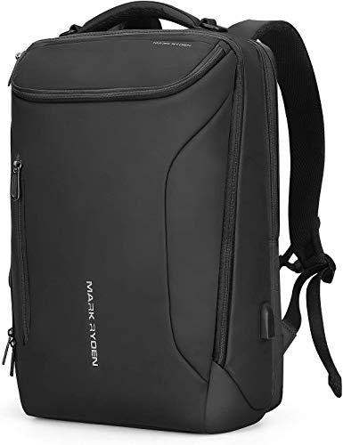 MARK RYDEN Waterdichte laptoprugzak met USB 17,3 inch / 15,6 inch voor mannen multifunctionele rugzak diefstalbeveiliging dagrugzak voor business grote capaciteit, zwart, 3 Taschen, rugzak