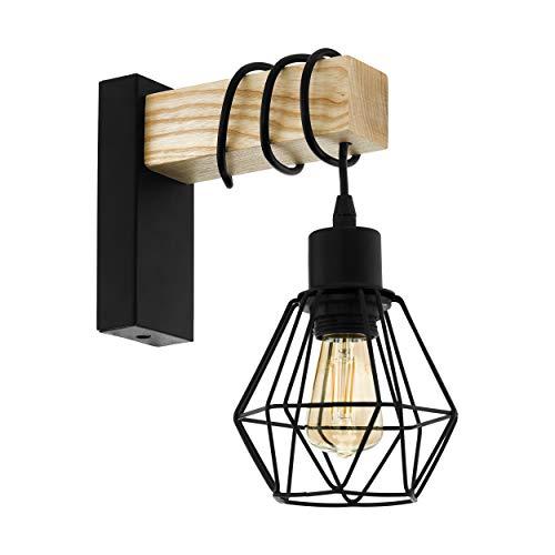EGLO wandlamp TOWNSHEND 5, 1 lichtbron vintage wandarmatuur in industrieel ontwerp, retro lamp van staal en hout, kleur: zwart, bruin, fitting: E27