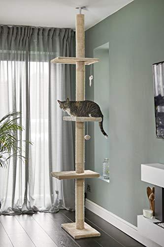 Kattenboom Vloer tot Plafond 240-288cm, Beige Krabpaal, Runesol Krabpaal met 3 Grote Platforms, Kattenbomen van Plafond tot Vloer
