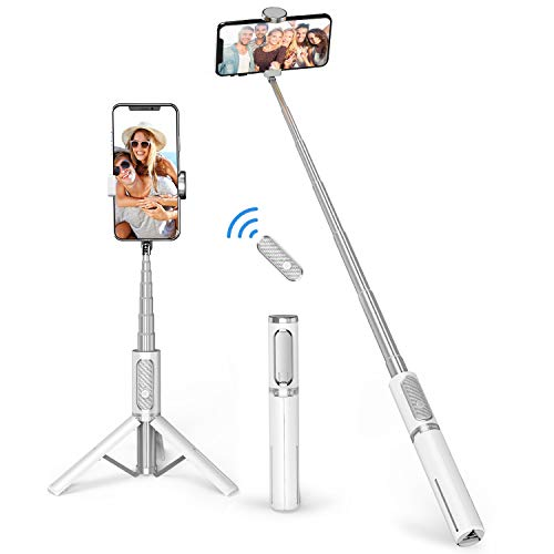 ATUMTEK Bluetooth Selfie Stick Driepoot, Mini Verlengbare 3 in 1 Aluminium Selfie Stick met Draadloze Verre en Driepoot Tribune 360 Omwenteling voor iPhone 11/11 Pro/XS Max/XS/XR/X/8/7, Samsung en Smartphone