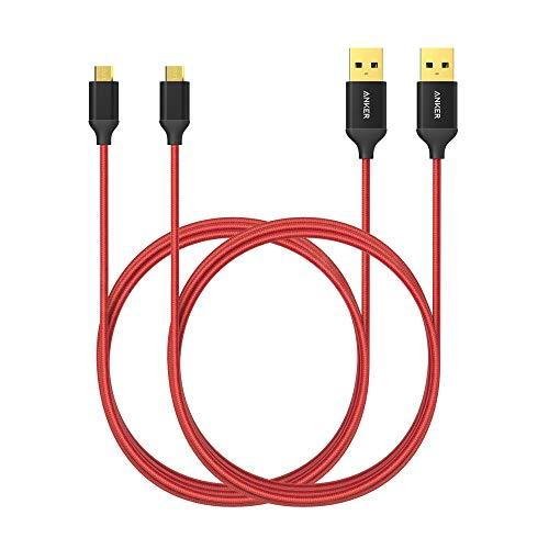 Anker, micro USB-kabel, nylon, 1,8m, 2-pak, High Speed Sync en oplaadkabel met vergulde stekkers voor Samsung, HTC, Huawei, Sony, Nokia, Nexus, Kindle en andere Android-smartphones, kleur rood
