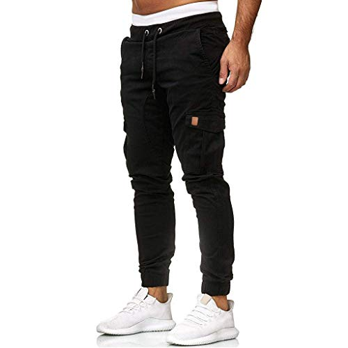 Mannen Joggingbroek Sportbroek Heren Broek Joggers Chino Mode Basic Cargo Broek Jeans Skinny Fit Leisure Broek, zwart, S