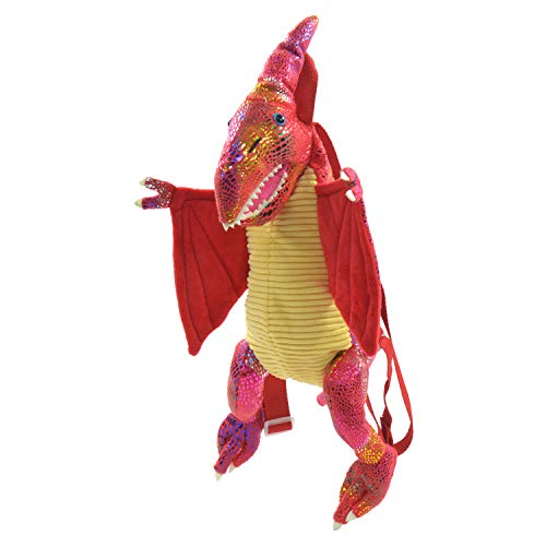 Kögler 85411 Dino rugzak, voor kinderen, triceratops met glitterhuidschubben, met handgreep en in lengte verstelbare draagriemen, rood, 50 EU, Vliegsaurus rood