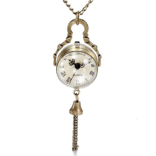 JewelryWe Retro concave en bolle spiegel Fisheye glazen bal zakhorloge met Romeinse karakter hanger ketting