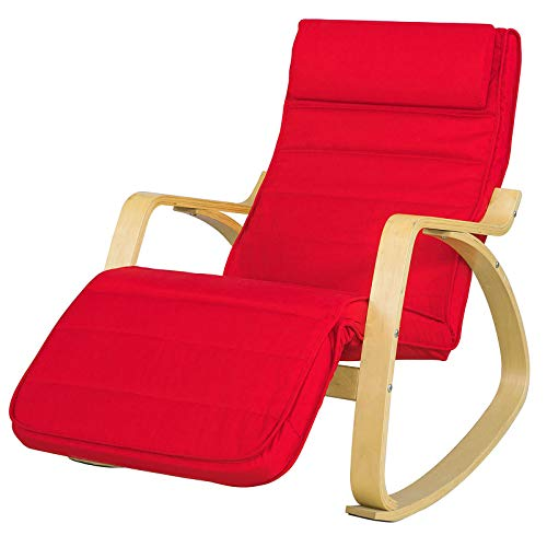 SoBuy FST16-R Schommelstoel met Verstelbare Voetensteun Relaxfauteuil Comfortabel Verstelbaar Trendy- Rood