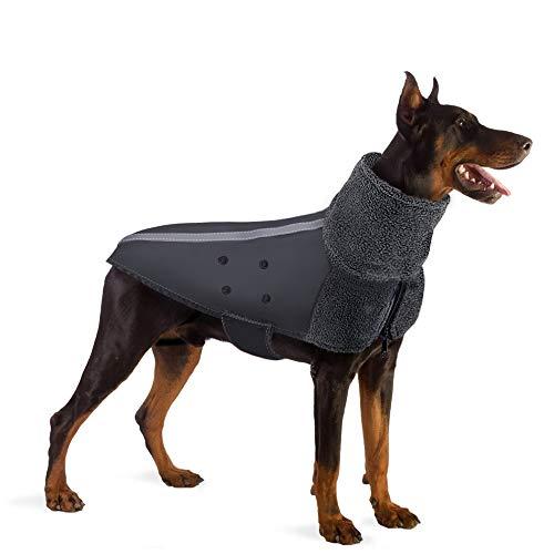 SlowTon Winter hondenjas, warme polaire fleece voering Doggie outdoor jas met coltrui sjaal reflecterende streep verstelbare waterdichte winddichte puppy vest zachte huisdier outfits voor kleine middelgrote grote honden